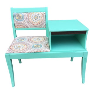 Upcycled Aqua Telephone Bench Table