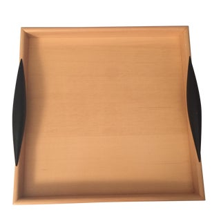 Square Mitheis Wooden Tray with Black Handles