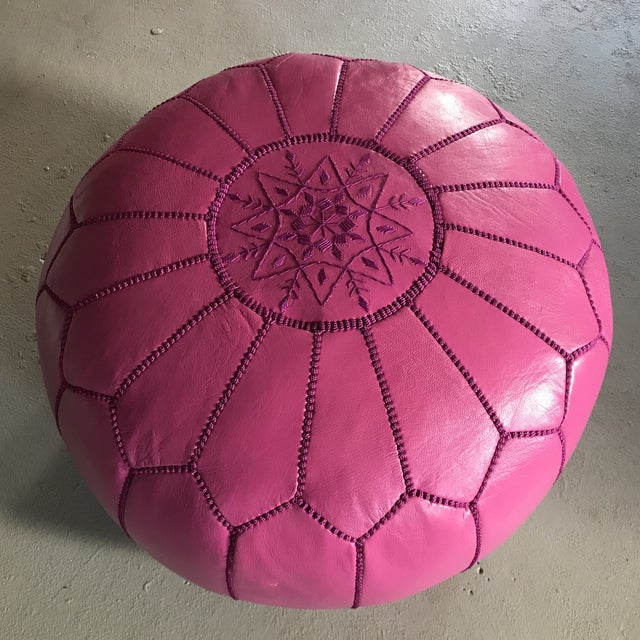 Moroccan Pink Leather Pouf - Image 2 of 6