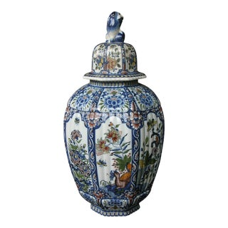 A Massive Belgian Polychromed Lobed Octagonal Ginger Jar with Lid Surmounted by a Regal Lion; by Boch Freres Keramis