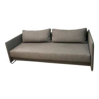 CB2 Tandom Microgrid Grey Sleeper Sofa