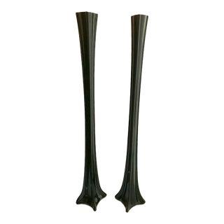Extra Tall Black Amethyst Vases - a Pair