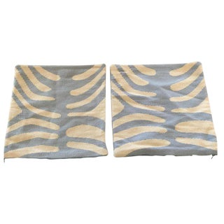 Jonathan Adler Blue Zebra Pillows - A Pair