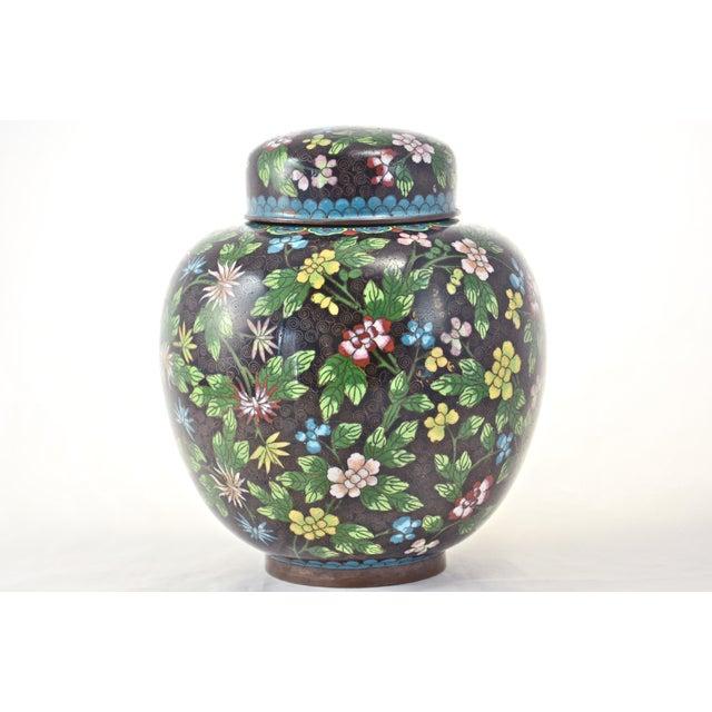 Antique Floral Cloisonné Longevity Jar - Image 2 of 9