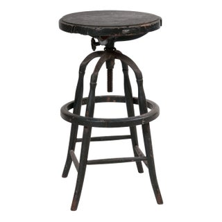 Industrial Wood and Cast Iron Stool
