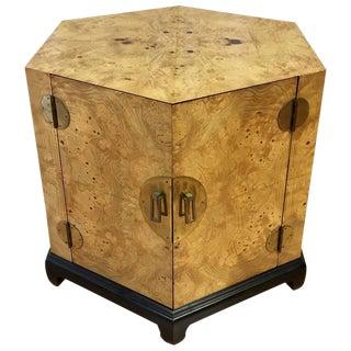 Henredon Style Hexagonal Burl Wood & Brass Cabinet