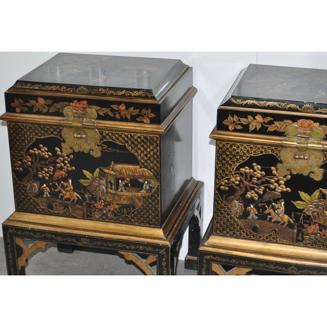 Vintage Chinoiserie Trunk Side Tables - A Pair - Image 3 of 8