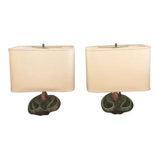 Heifetz Deep Green Biomorphic Ceramic Lamps - A Pair