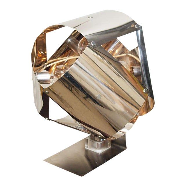 Chromed Metal Sculptural Table Lamp - Image 1 of 11