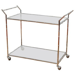 Faux Bamboo Chrome & Glass Serving Cart