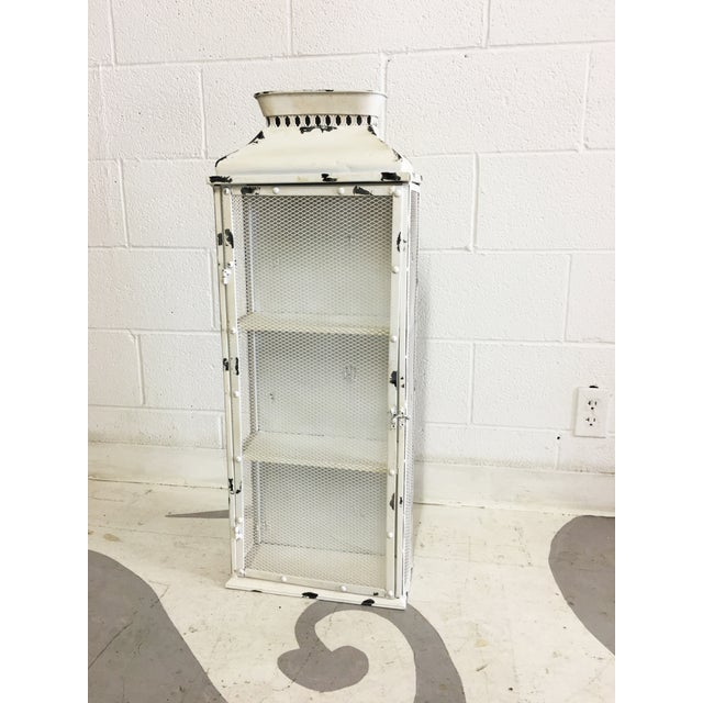 Shabby Chic White Metal Cabinet - Image 2 of 6