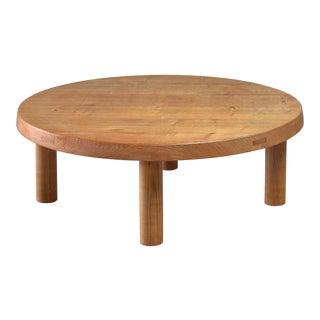 Pierre Chapo round oak coffee table, France, 1960s