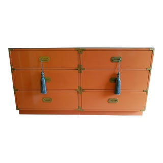 Orange Campaign Style Nightstands - A Pair