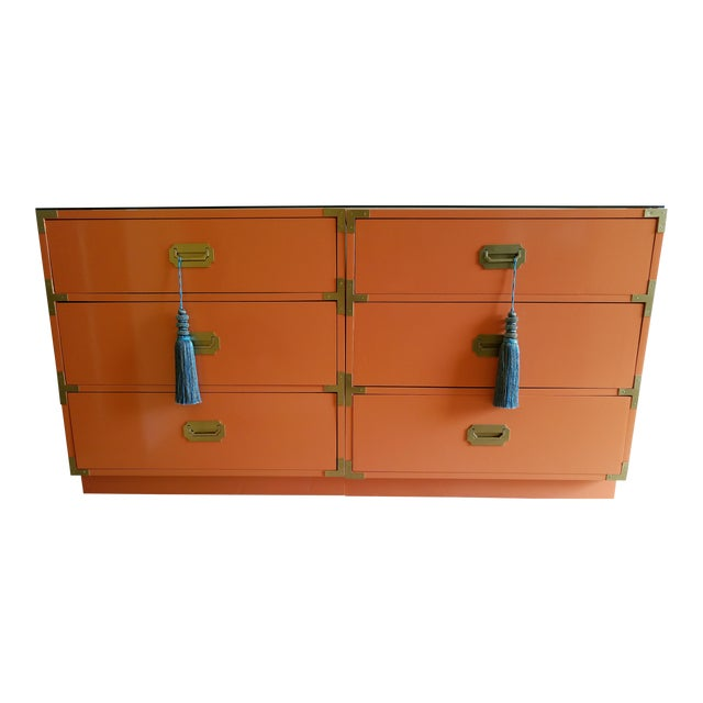 Orange Campaign Style Nightstands - A Pair - Image 1 of 8