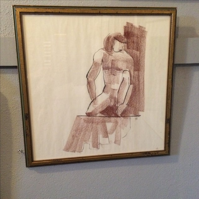 Vintage Charcoal Nude Male Drawing - Image 2 of 5