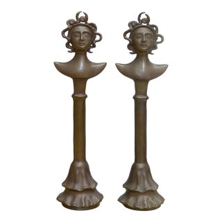 Bronze Figurative Totems in the Manner of Giacometti - a Pair