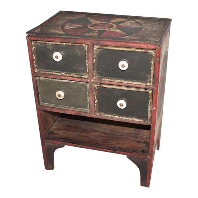 19th Century Original Paint Decorated Tabletop Apothecary Cabinet - Image 1 of 8