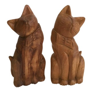 Vintage Carved Wooden Cat Bookends - A Pair