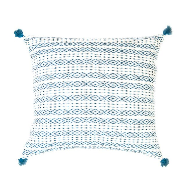 Teal Handwoven Mexican Pillows - Set of 3 - Image 6 of 6