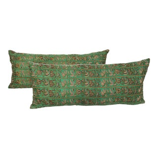 Asian Silk Embroidered Emerald Butterfly Pillows - a Pair