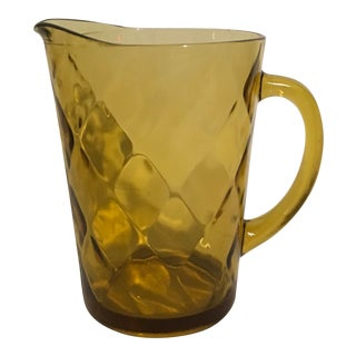 1970s Hazel-Atlas Amber Embossed Diamond Pattern Pressed-Glass Pitcher