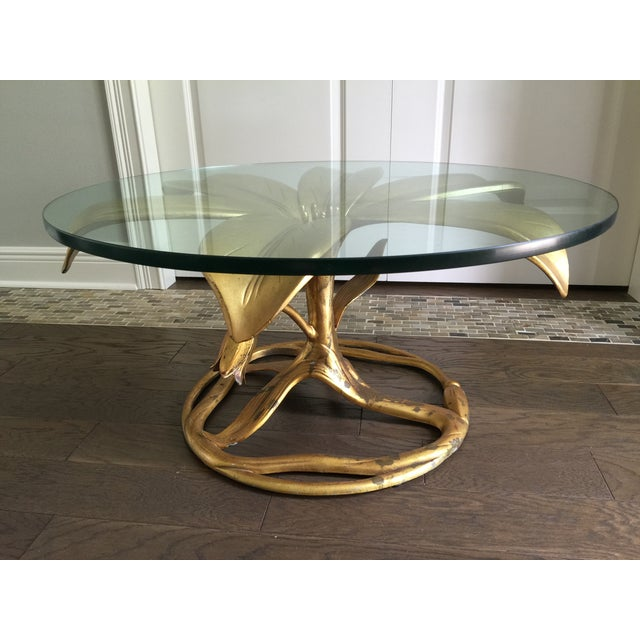 Arthur Court Vintage Gilt Lilly Base Coffee Table - Image 4 of 7