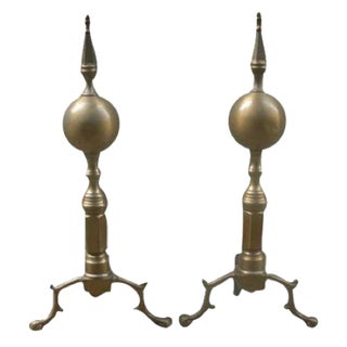 Brass Fireplace Andirons - A Pair