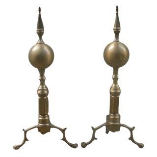 Brass Fireplace Andirons - A Pair