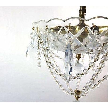 Brass & Draped Crystal Ceiling Fixture - Image 4 of 7