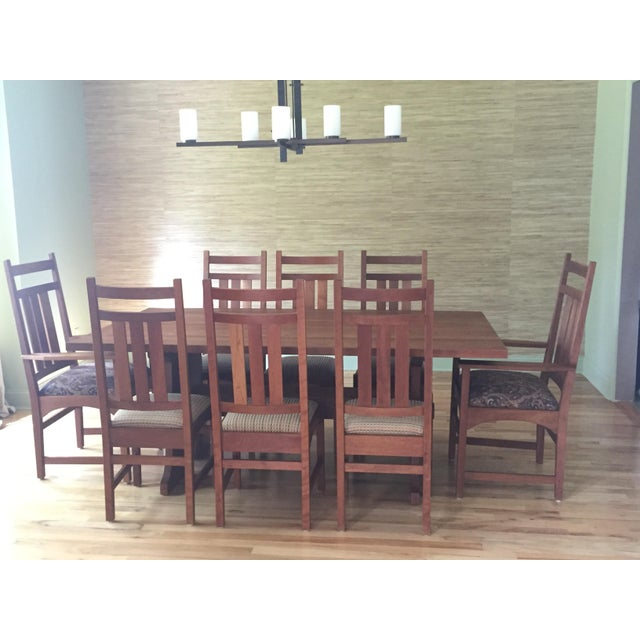 image of stickley mission cherry dining table 8 chairs. Interior Design Ideas. Home Design Ideas