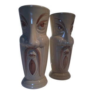 'Fu Man Chu' Ceramic Drinking Vessels - A Pair