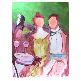 """Faceless Revelers"" Oil on Canvas Painting"