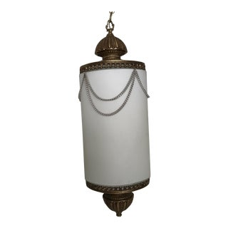 Mid-Century Frosted Glass & Brass Pendant Light