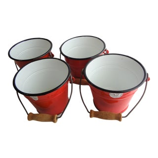 Vintage Small Red Enamel Pails - Set of 4