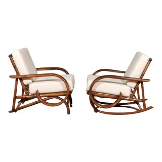 Exceptional Restored Vintage Rattan Lounge and Rocker Pair