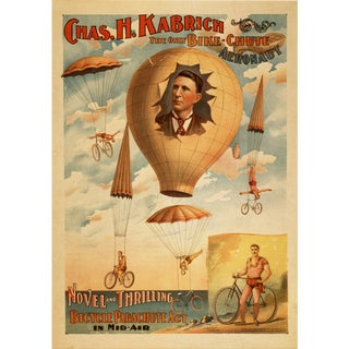 """The Bike-Chute Aeronaut"" Reproduction 1800s Vaudeville Poster Print"