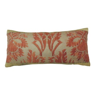 Large Fortuny Red Decorative Bolster Pillow