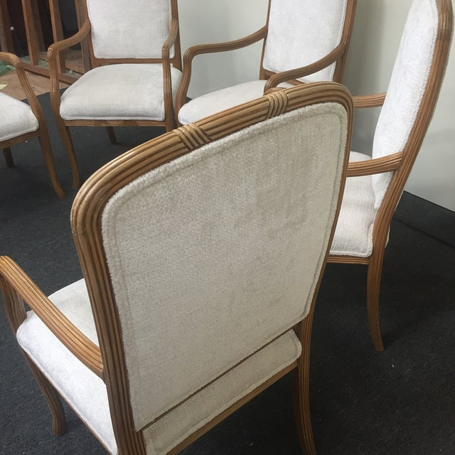 Image of White Upholstered Ribbed Wood Chairs - Set of 5