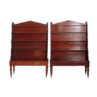 Pair of English Regency Dwarf Waterfall Bookcases