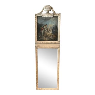 18th Century French Louis XVI Painted Console and Matching Trumeau Mirror