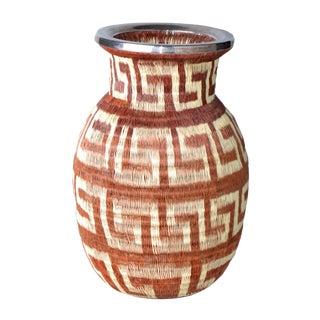 Native American hand woven Vase Silver