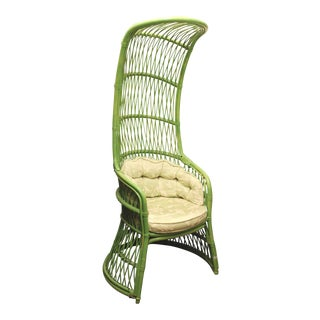 Vintage Green Rattan Canopy Chair