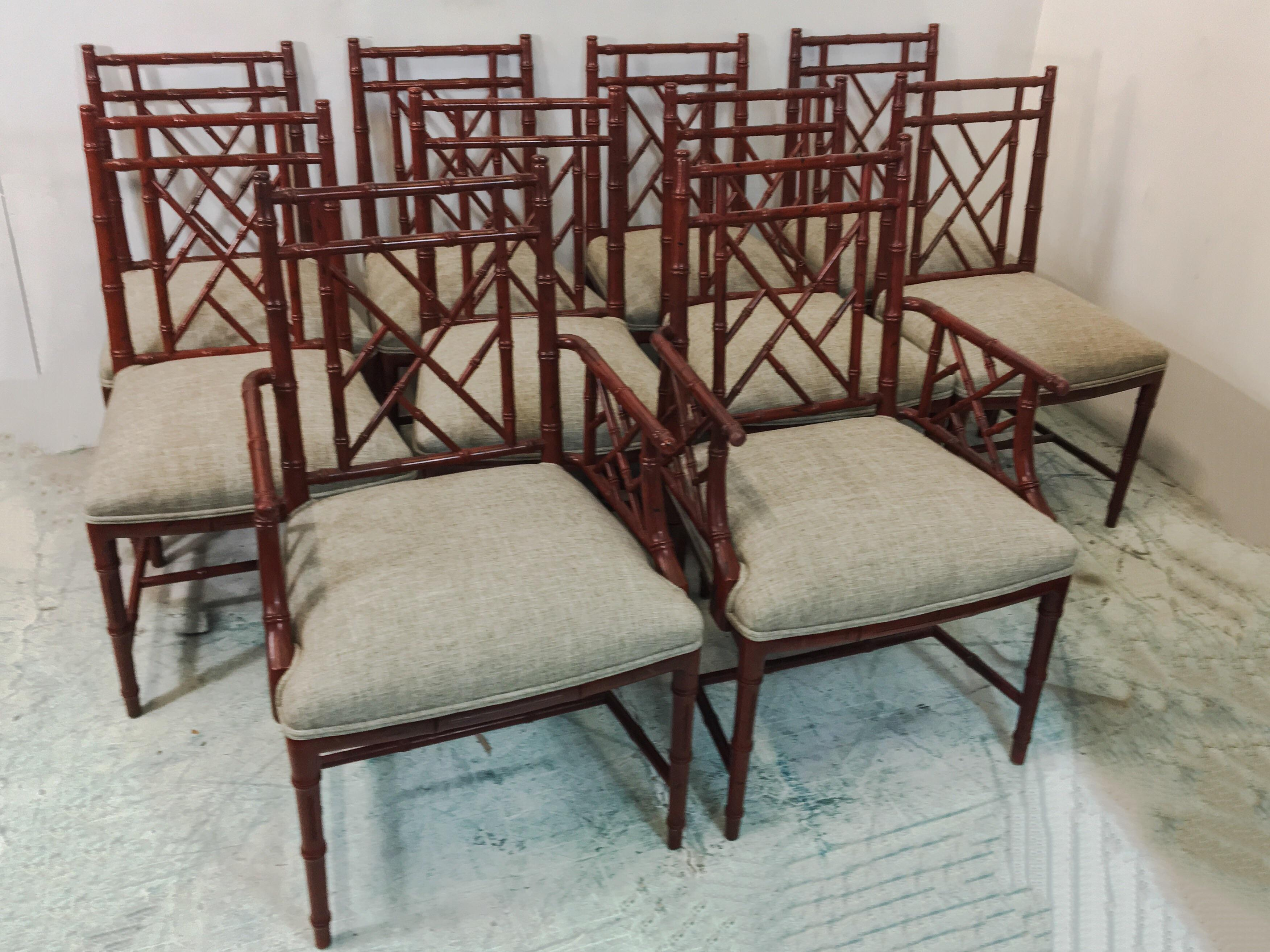 Century Faux Bamboo Chairs   Set Of 10   Image 2 Of 7