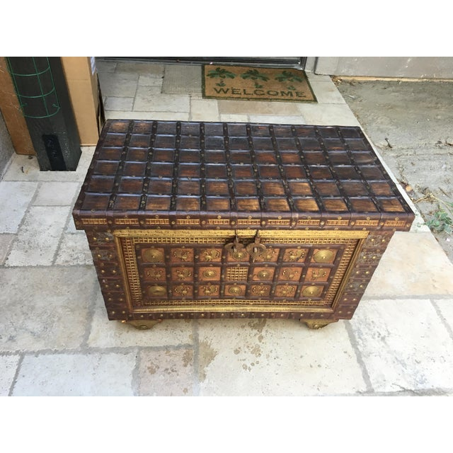 Exotic Chest Richly Adorned With Gleaming Brass Overlays on Copper - Image 6 of 6