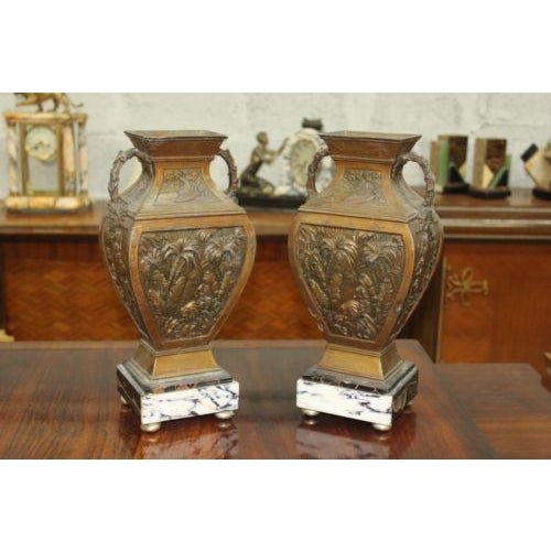 Big Pair of French Art Deco Vase With Marble Base Circa 1935s - Image 8 of 10