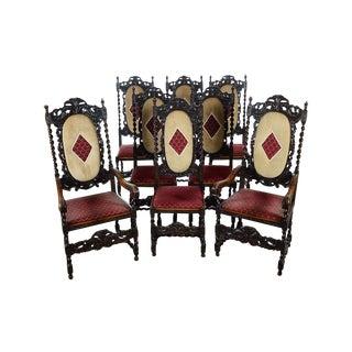 English Renaissance Dining Chairs - Set of 12