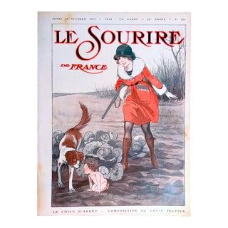 """Louis Peltier 1919 """"Huntress & Dog"""" Le Sourire Cover Print"""