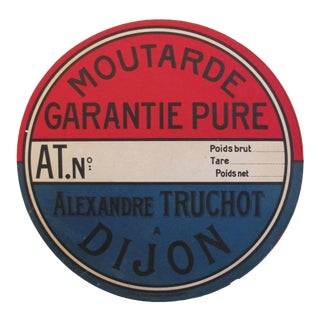 1930s French Vintage Mustard Label, Moutarde Garantie Pure