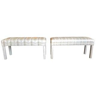 Parsons Vinyl Upholsterd Benches - A Pair