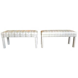 Parsons Vinyl Upholsterd Benches - A Pair